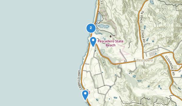 trail locations for Pescadero State Beach
