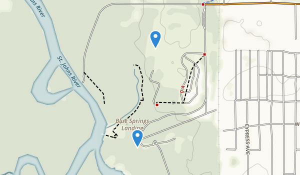 trail locations for Blue Spring State Park