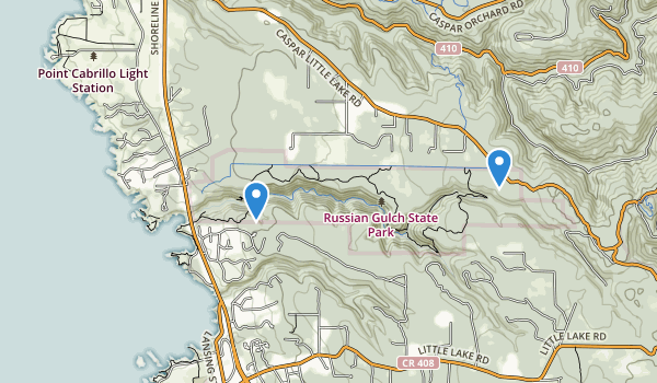 trail locations for Russian Gulch State Park