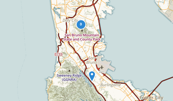 trail locations for San Bruno Mountain State Park