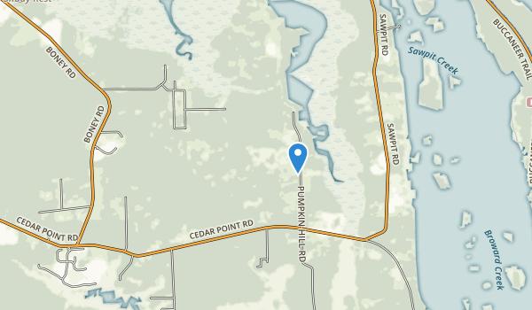 trail locations for Pumpkin Hill Creek Preserve State Park