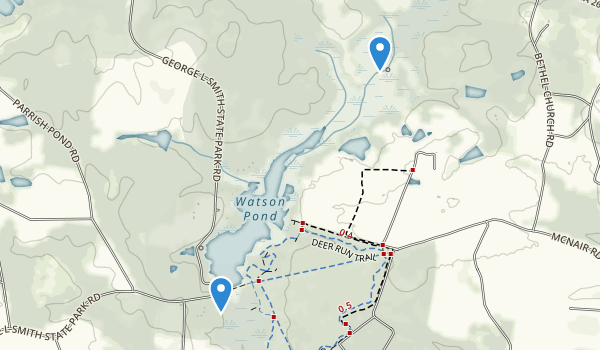 trail locations for George L. Smith State Park