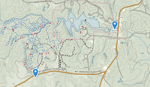 trail locations for Indian Springs State Park