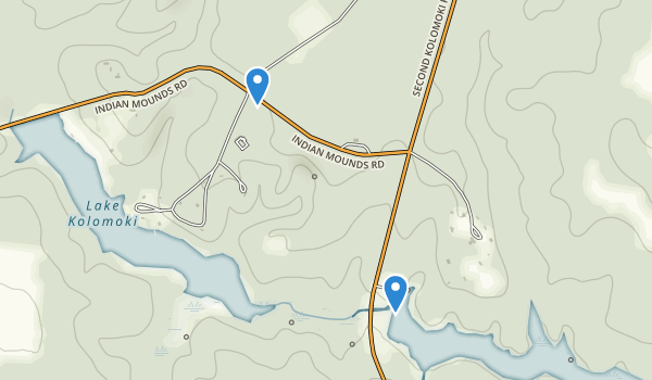 trail locations for Kolomoki Mounds Historic Park