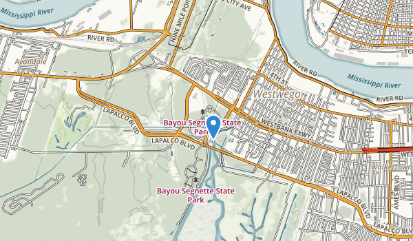 trail locations for Bayou Segnette State Park
