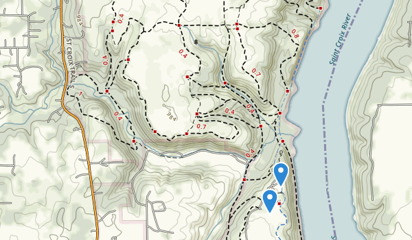 trail locations for Afton State Park