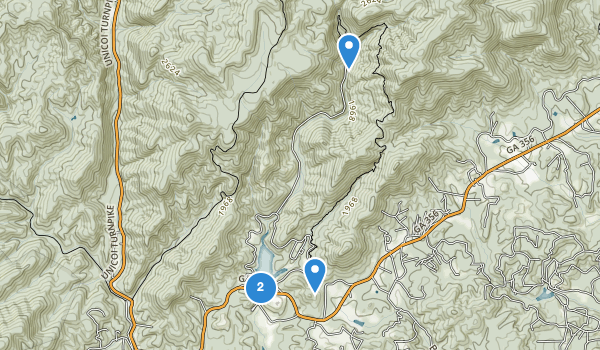 trail locations for Unicoi State Park and Lodge