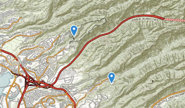 trail locations for Keaiwa Heiau State Recreation Area