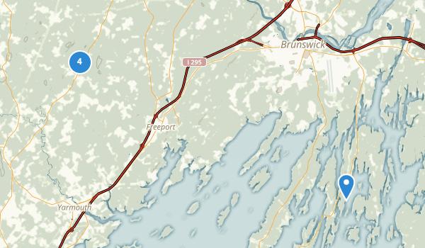trail locations for Bradbury Mountain State Park