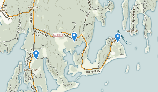 trail locations for Popham Beach State Park