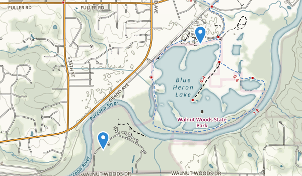 trail locations for Walnut Woods State Park