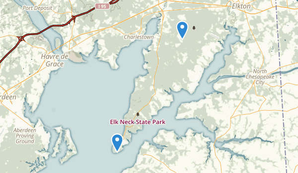 trail locations for Elk Neck State Park
