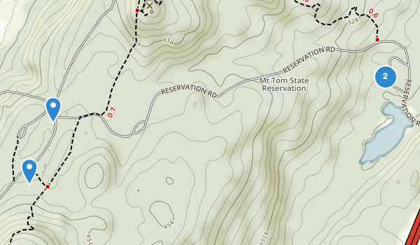 trail locations for Mount Tom State Reservation
