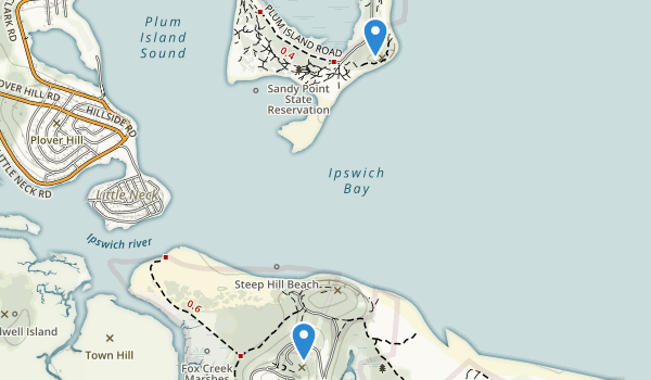 trail locations for Sandy Point State Reservation