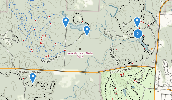 trail locations for Knob Noster State Park