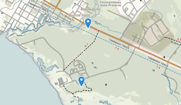 trail locations for Fontainebleau State Park