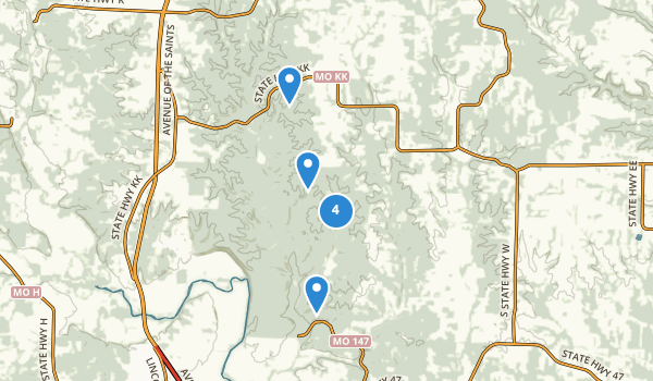 trail locations for Cuivre River State Park