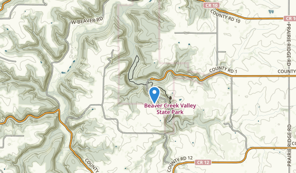 trail locations for Beaver Creek Valley State Park