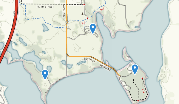 trail locations for Myre-Big Island State Park