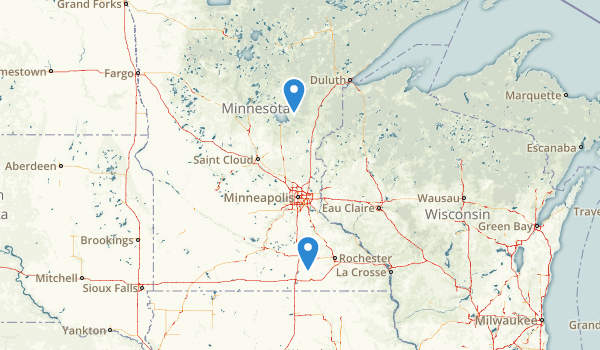 trail locations for Rice Lake State Park