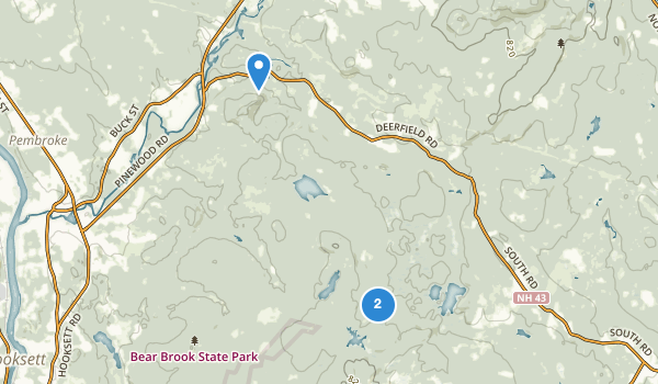 trail locations for Bear Brook State Park
