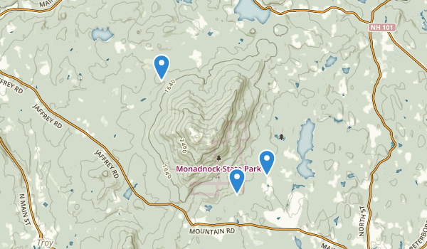 trail locations for Monadnock State Park