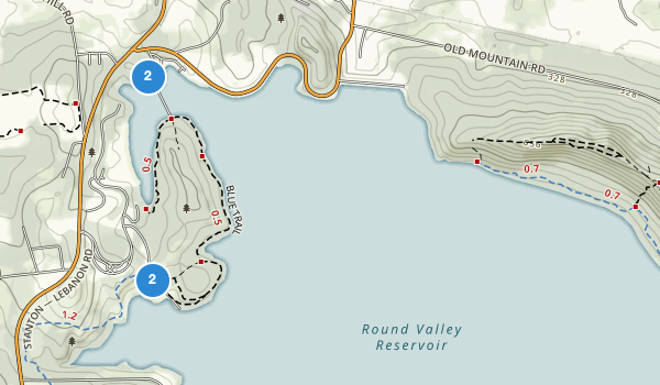 trail locations for Round Valley Recreation Area