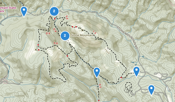 trail locations for Stone Mountain State Park