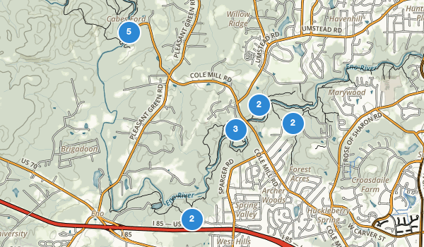 trail locations for Eno River State Park