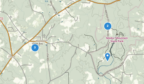 trail locations for Medoc Mountain State Park