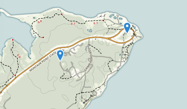 trail locations for Camp Hero State Park