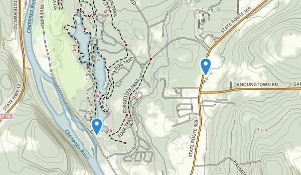 trail locations for Chenango Valley State Park