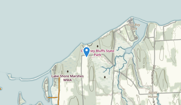 trail locations for Chimney Bluffs State Park