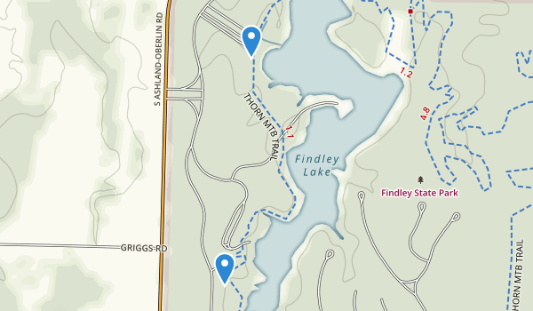 trail locations for Findley State Park