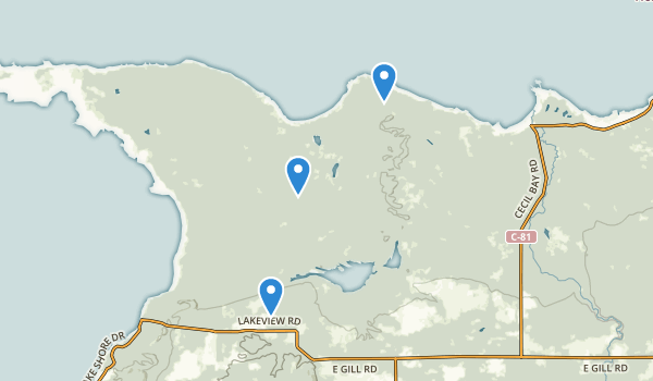 trail locations for Wilderness State Park