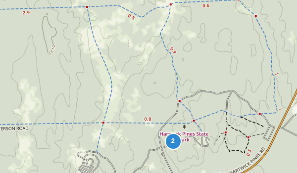 trail locations for Hartwick Pines State Park