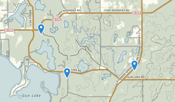trail locations for Yankee Springs Recreation Area