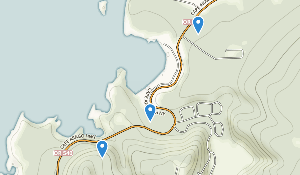trail locations for Sunset Bay State Park