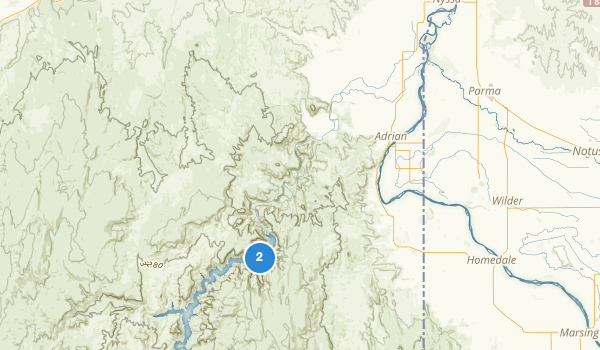 trail locations for Lake Owyhee State Park