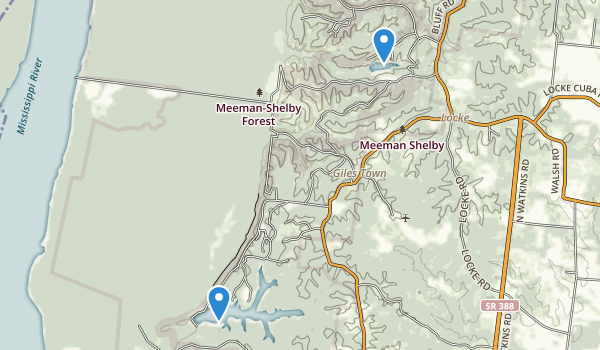 trail locations for Meeman-Shelby Forest State Park