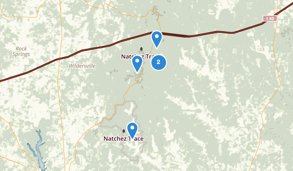 trail locations for Natchez Trace State Park