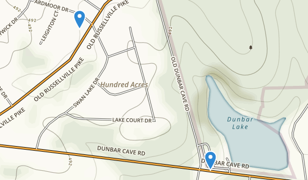 trail locations for Dunbar Cave State Park