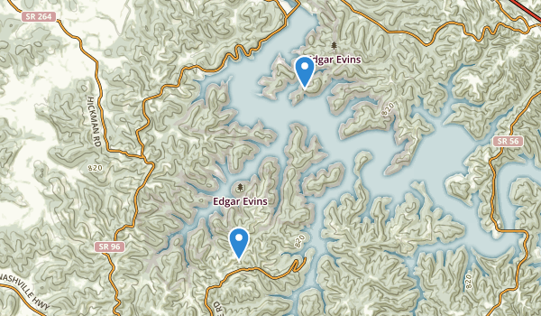trail locations for Edgar Evins State Park