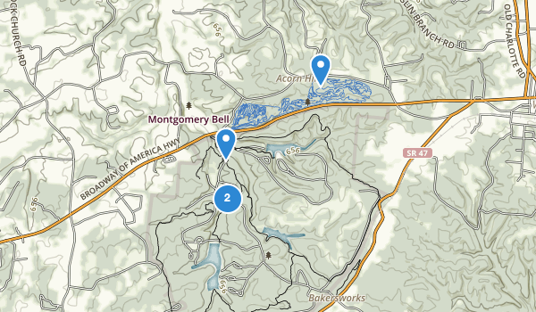 trail locations for Montgomery Bell State Park