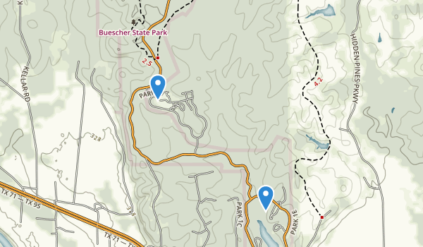 trail locations for Buescher State Park