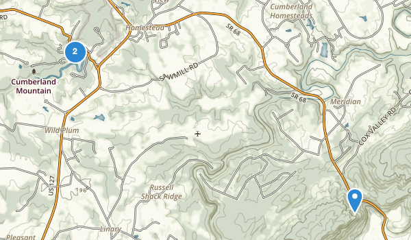 trail locations for Cumberland Mountain State Park
