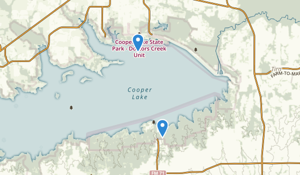 trail locations for Cooper Lake State Park