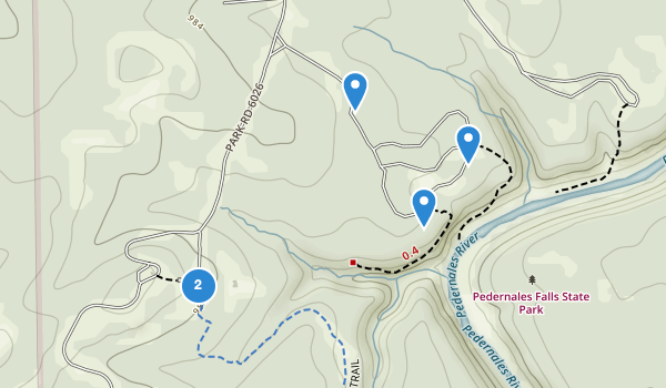 trail locations for Pedernales Falls State Park