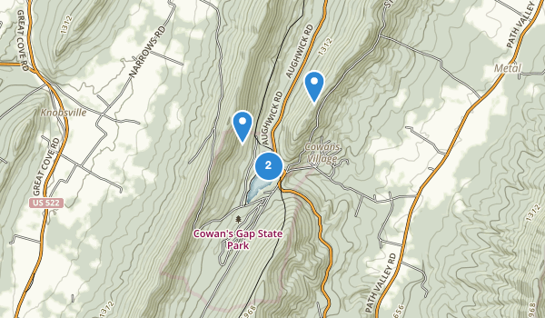 trail locations for Cowans Gap State Park