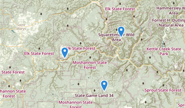 trail locations for Elk State Park